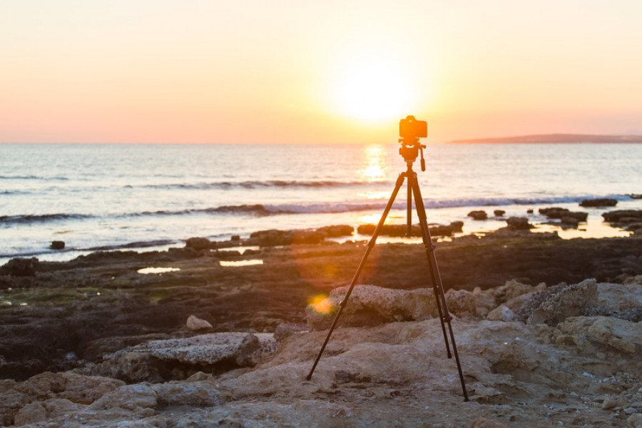tripod on the sunset