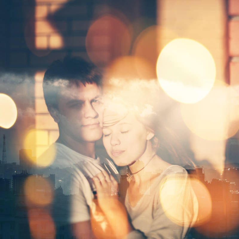 Double exposure in camera, couple in love 800