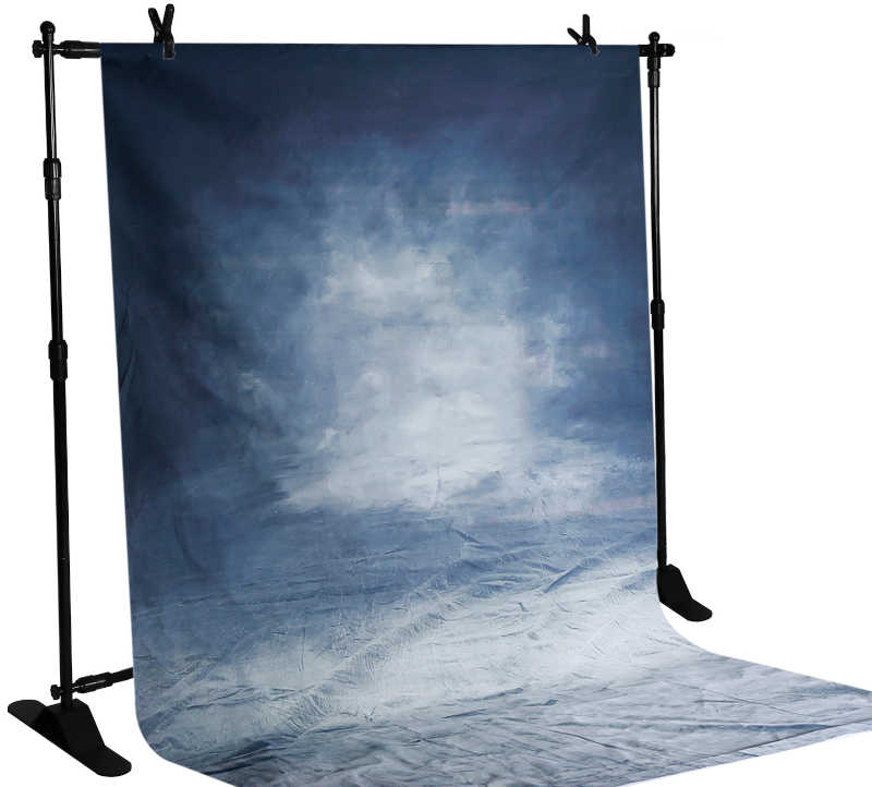 backdrop stand with blue backdrop