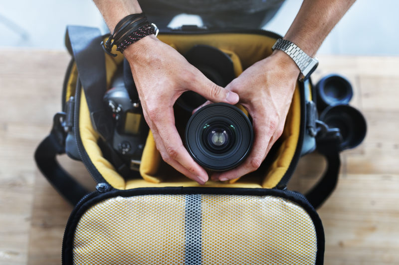 Camera bag with equipment