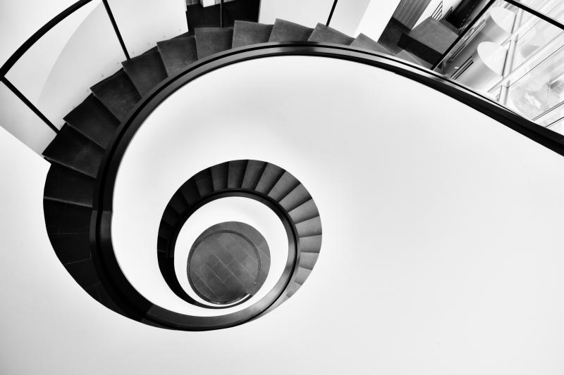 Black and white photo of the steps